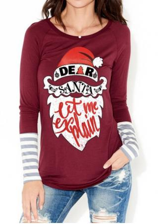 Christmas Santa Claus Letter Printed T-Shirt Christmas
