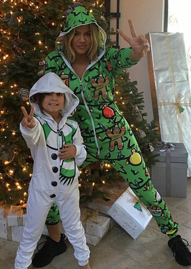 Christmas Printed Zipper Hooded Jumpsuit For Adult