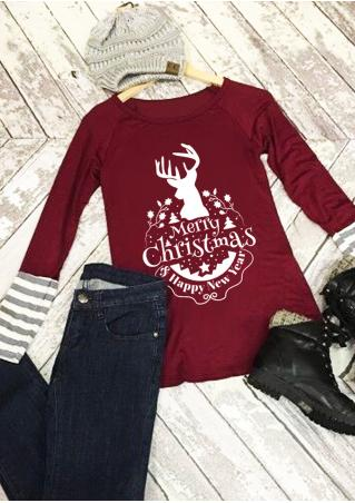 Christmas Reindeer Letter Printed Striped Splicing T-Shirt Christmas