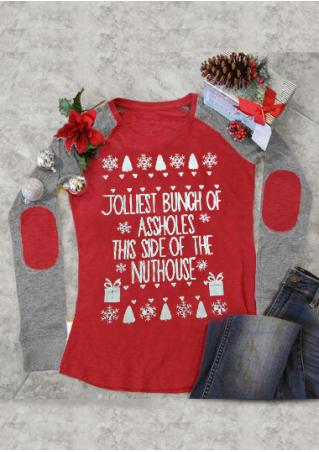 Christmas Snowflake Letter Printed Elbow Patch Splicing T-Shirt