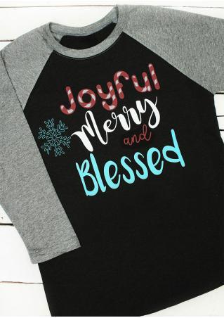 Christmas Snowflake Letter Printed Splicing O-Neck T-Shirt
