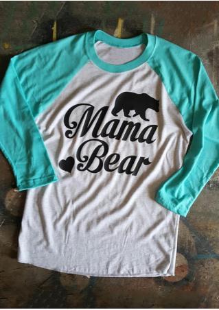 Mama Bear Printed Splicing Casual T-Shirt