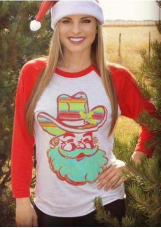 Christmas Santa Claus Printed Splicing Casual T-Shirt