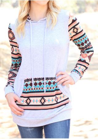 Geometric Printed Splicing Kangaroo Pocket Hoodie
