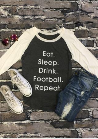 Letter Printed Splicing Long Sleeve T-Shirt
