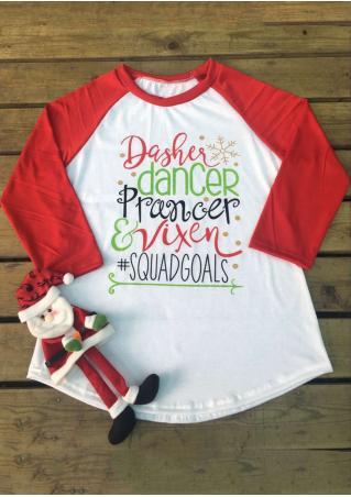 Christmas Letter Snow Printed Splicing Three Quarter Sleeve T-Shirt Christmas