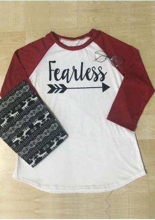 Fearless Arrow Printed Splicing T-Shirt