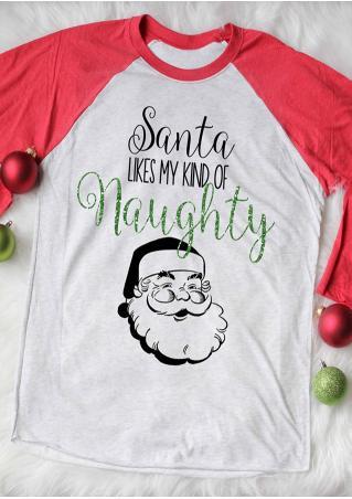 Christmas Santa Claus Letter Printed Splicing O-Neck T-Shirt