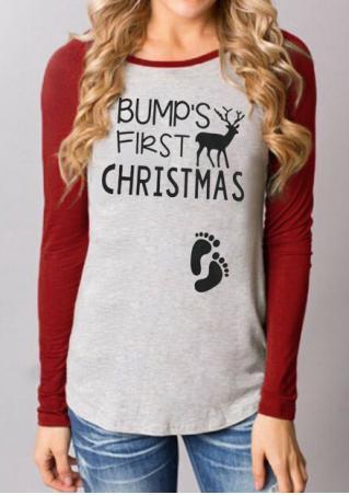BUMP'S FIRST CHRISTMAS Splicing T-Shirt BUMP'S