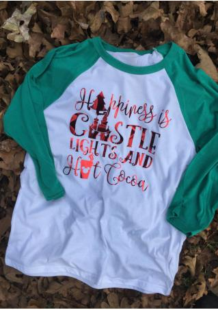 Christmas Tree Letter Printed Splicing O-Neck T-Shirt