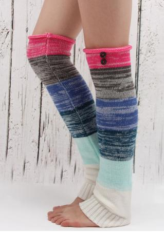 Color Block Knitted Boots Socks Color