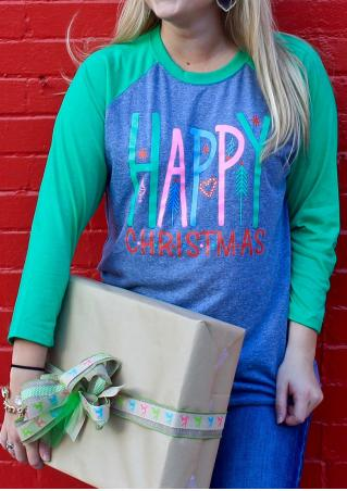 HAPPY CHRISTMAS Printed Splicing Casual T-Shirt