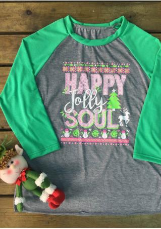 Christmas Letter Snowman Printed Splicing T-Shirt Christmas