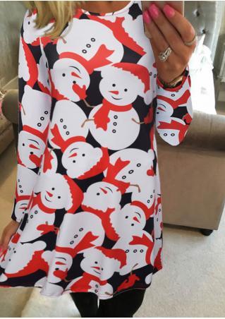 Christmas Snowman Printed Casual Dress