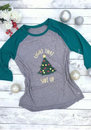 Christmas Tree Letter Printed Splicing T-Shirt