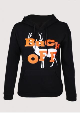 Christmas Buck Off Reindeer Printed Hoodie