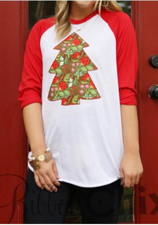 Christmas Tree Printed Splicing O-Neck T-Shirt Without Necklace