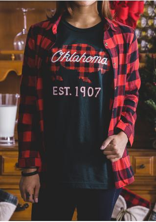 Letter Printed Plaid Splicing Long sleeve T-Shirt