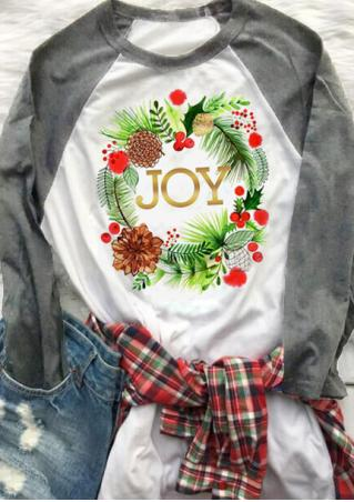 JOY Floral Splicing Long Sleeve T-Shirt
