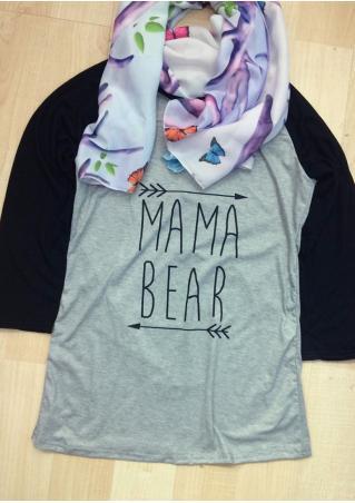 MAMA BEAR Arrow Printed O-Neck Splicing T-Shirt