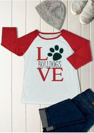 LOVE BULLDOGS Paw Printed Splicing T-Shirt