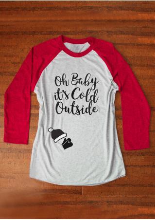 Christmas Letter Printed Splicing O-Neck T-Shirt Christmas