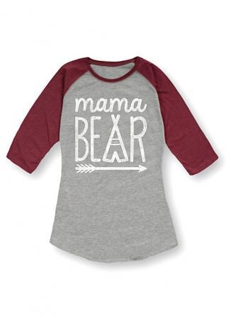 Mama BEAR Arrow Printed Splicing T-Shirt