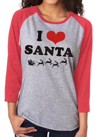 Christmas I LOVE SANTA Printed Splicing T-Shirt Christmas