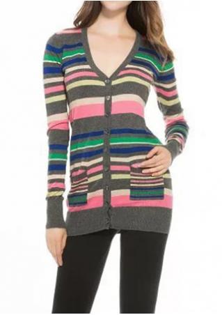 Multicolor Front Pockets Cardigan