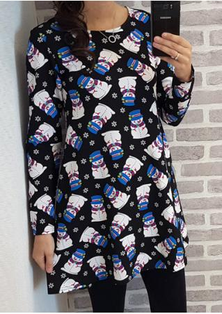 Snowman Printed Long Sleeve Dress Without Necklace