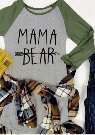 MAMA BEAR Arrow Printed Splicing O-Neck T-Shirt
