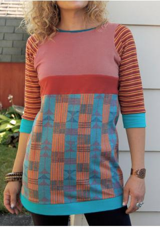 Striped Sleeve Splicing Color Block T-Shirt