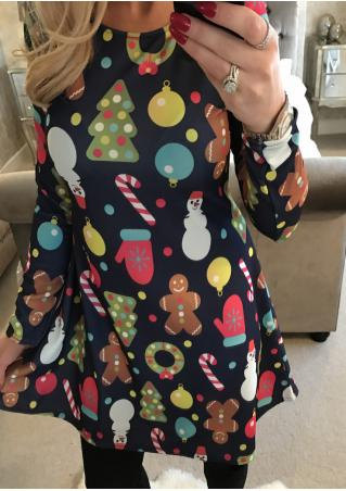 Christmas Snowman Gift Printed Dress