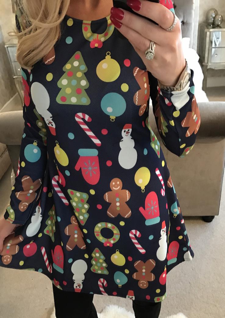 Christmas Snowman Gift Printed Dress Fairyseason