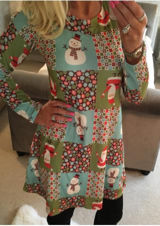 Christmas Snowman Santa Claus Printed Long Sleeve Dress