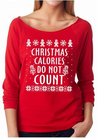 Christmas Snowflake Letter Printed Long Sleeve Sweatshirt