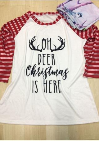 Christmas Letter Printed Striped Splicing T-Shirt Christmas