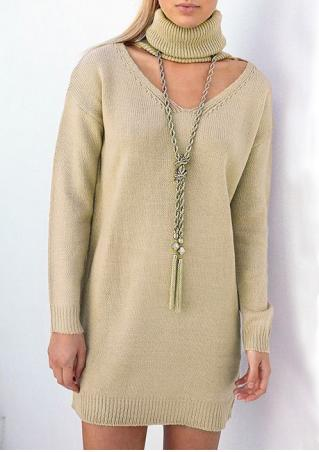 Solid Knitted Hollow Out Long Sleeve Loose Dress Without Necklace