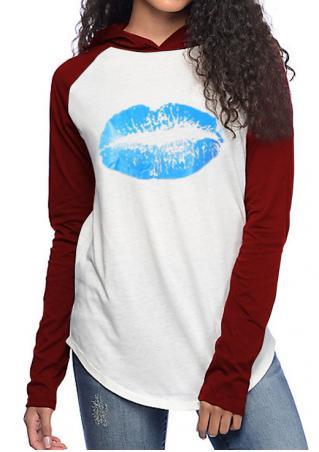 Lip Printed Splicing Hoodie
