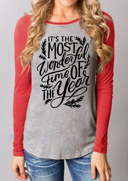 Letter Printed Splicing Long Sleeve Casual T-Shirt 25220