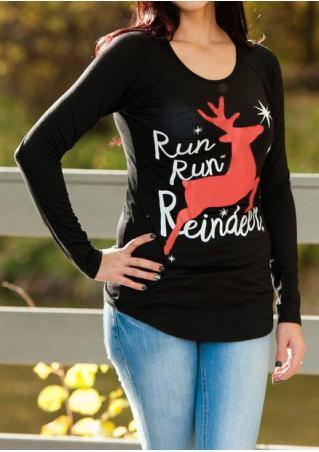 Christmas Reindeer Letter Printed Long Sleeve T-Shirt