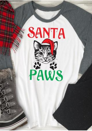 Christmas Cat Paws Printed Splicing T-Shirt Christmas