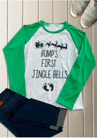 BUMP'S FIRST JINGLE BELLS Printed Splicing T-Shirt