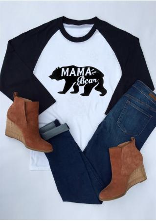 MAMA Bear Printed Splicing T-Shirt