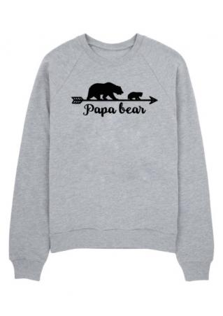 Papa Bear Arrow Printed Long Sleeve Sweatshirt