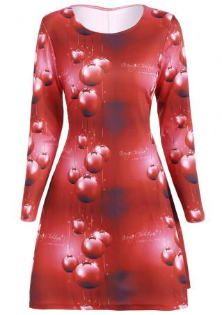 Christmas Gift Printed O-Neck Dress Christmas