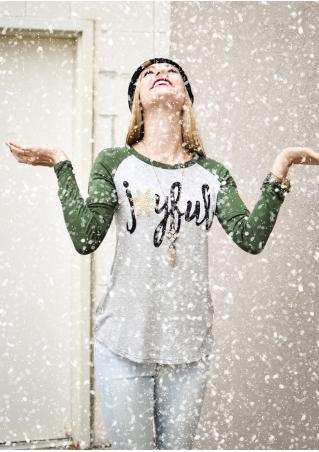 Christmas Snowflake Printed Long Sleeve T-Shirt Without Necklace