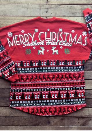 MERRY CHRISTMAS Reindeer Printed T-Shirt