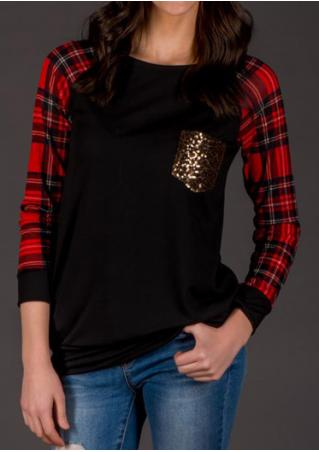 Plaid Splicing Sequined Pocket Long Sleeve T-Shirt