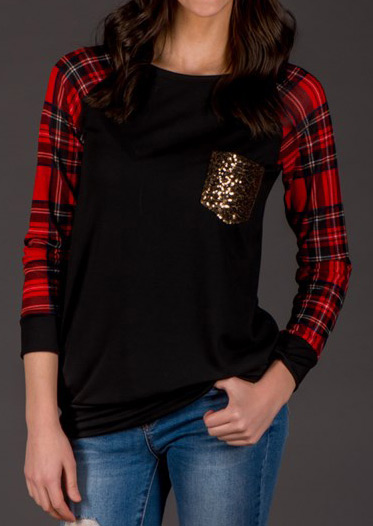 Plaid Splicing Sequined Pocket Long Sleeve T Shirt